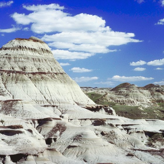 The dramatic rock formations in the Badlands are slowly eroding over time.