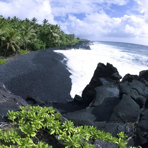 Black-sand beach on the Big Island of Hawaii.