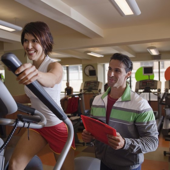 An elliptical machine provides a challenging low-impact workout.