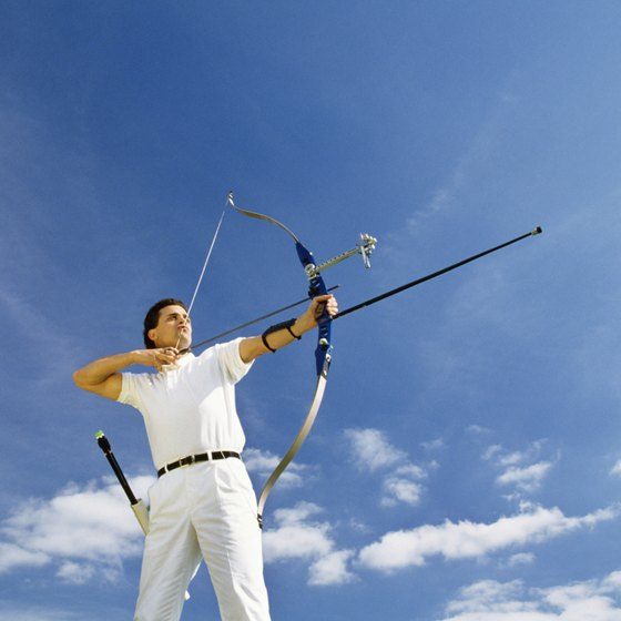 Shoulder muscles are used in archery to stabilize the bow and to pull back and hold the bow string.