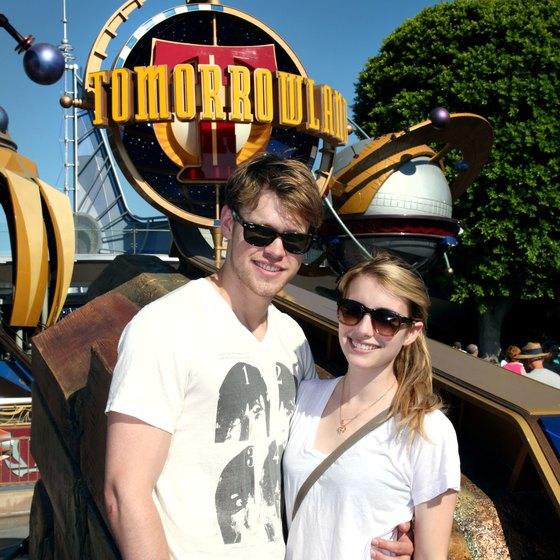 Actors Chord Overstreet and Emma Roberts at the Tommorowland park at Disneyland.