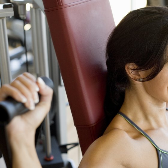 Use the shoulder press to work your shoulders and triceps.