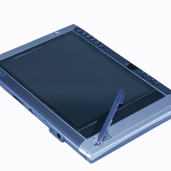 A tablet PC works the same as a laptop when connected to a projector.