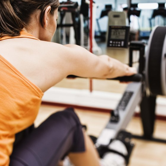 Rowing machines provide a full-body workout.