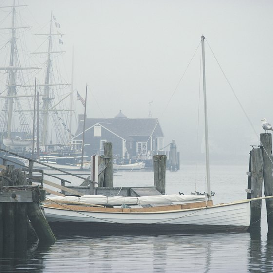The fog rolls into Mystic, Connecticut, creating a romantic setting.