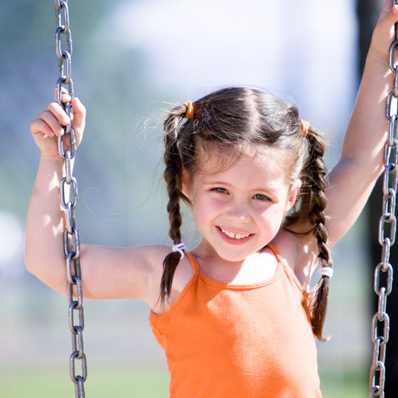 Playground equipment is another way for preschoolers to work large muscles.