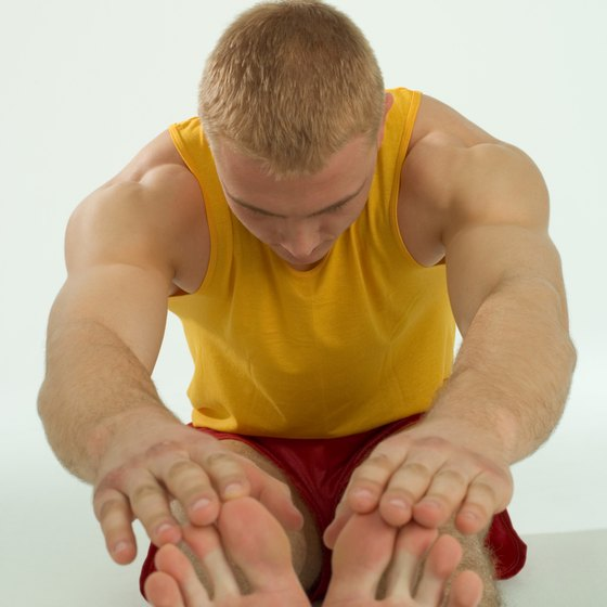 Your thighs, calves and back all get stretched when touching your toes.