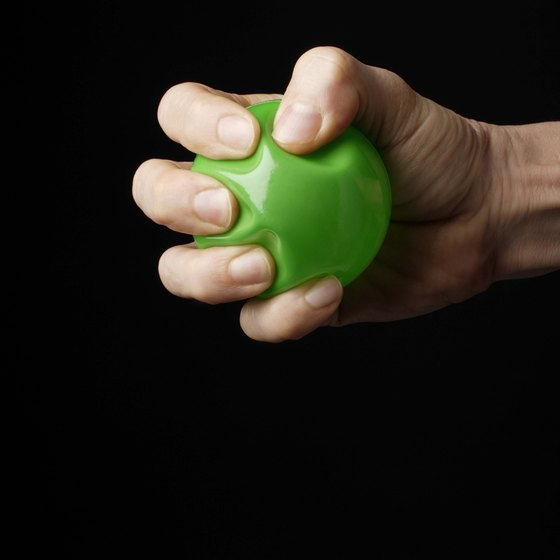 Squeezing a rubber ball works the muscles in your hand, wrist and forearm.