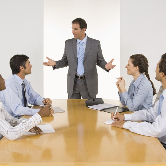 Productive business meetings include discussions, not just presentations.