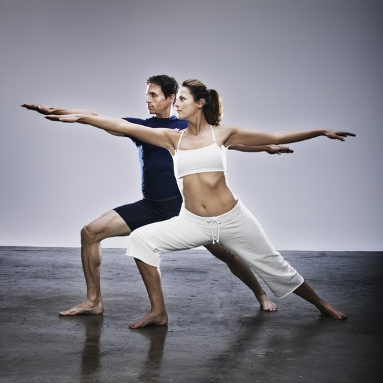 Yoga poses build muscular strength and endurance.