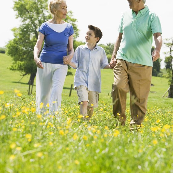 Walking with your grandkids improves social connections and maintains health.