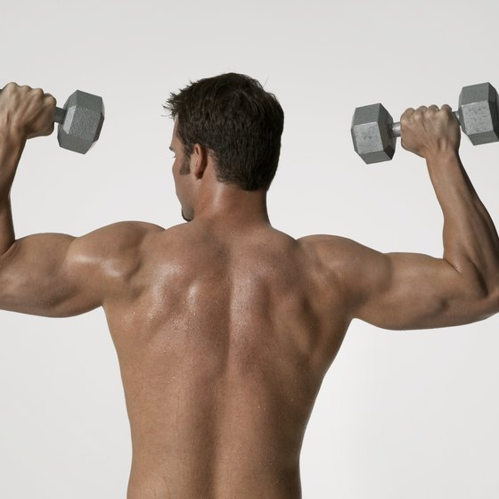 Dumbbell overhead presses build the shoulders.