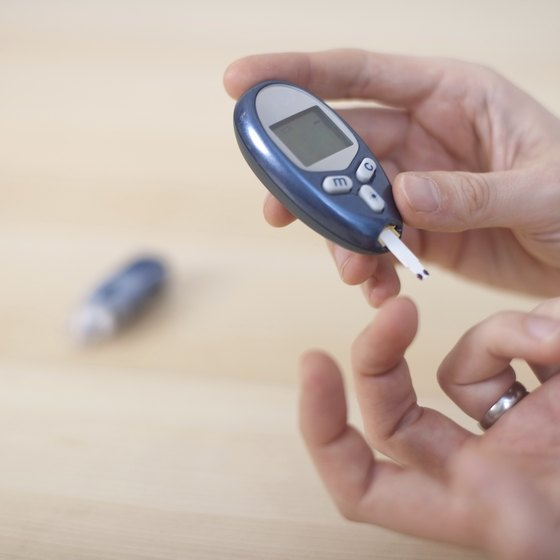Diabetic tests blood sugar level