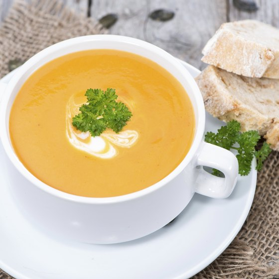 Bowl of creamy sweet potato soup.