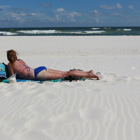 The beach at Gulf Shores is known for its wide, flat expanse of sugar-white sand.