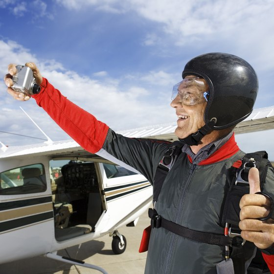 Picture yourself in a skydiving rig.