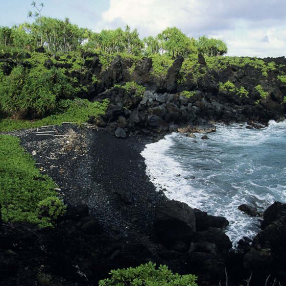 The black sands of Waianapanapa State Park in Maui.
