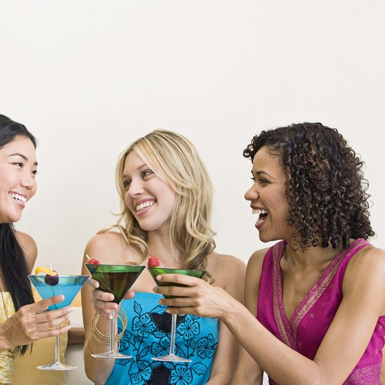 An image of a fun conversation over drinks sends an implicit message about the product.
