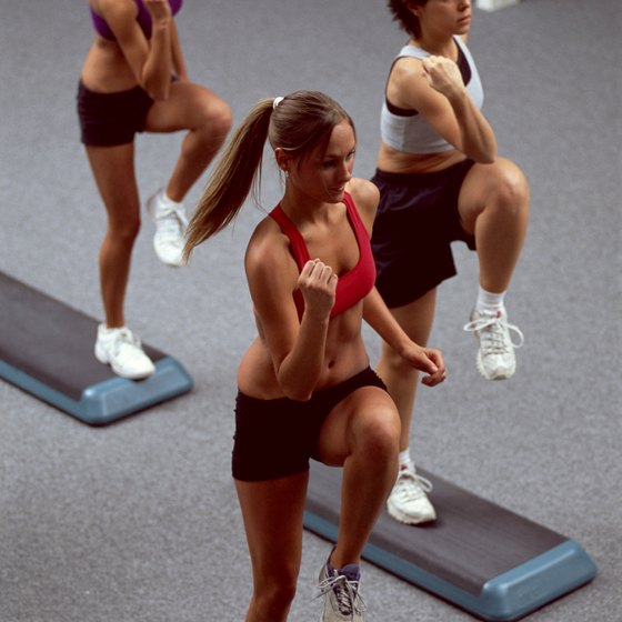 Use a variety of movements in step aerobics.