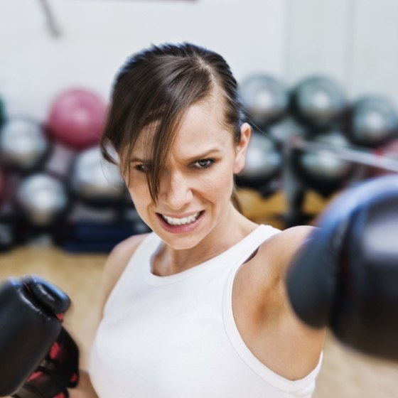 Cardio kickboxing features combination moves of kicks and punches.