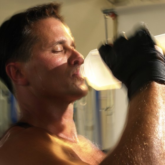 Drinking water provides proper hydration to working muscles during exercise.