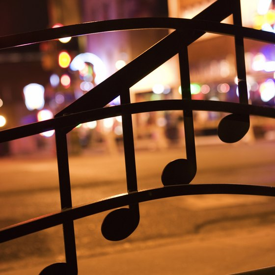 Musical notes on Beale Street reflect the city's connection with blues and rock music.