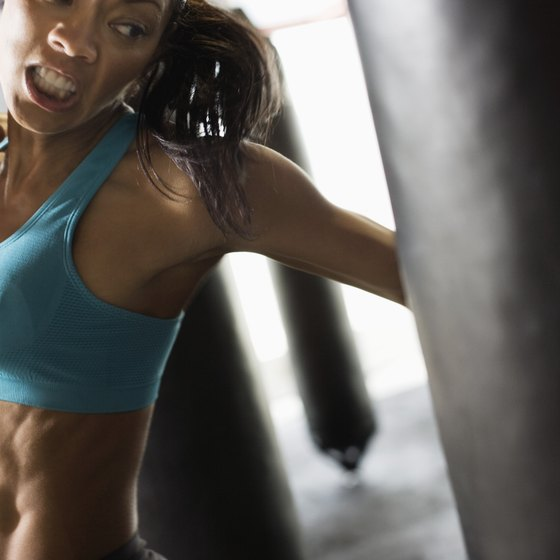 Once hung, punching bags can offer an intensive aerobic workout.