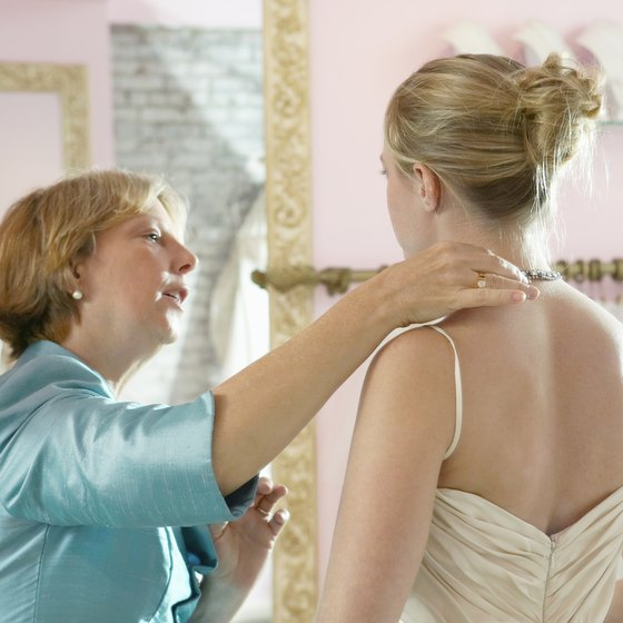 Bridal shops sell gowns and accessories.