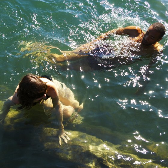Swimmers in Texas swimming holes often share the water with fish and aquatic plants.