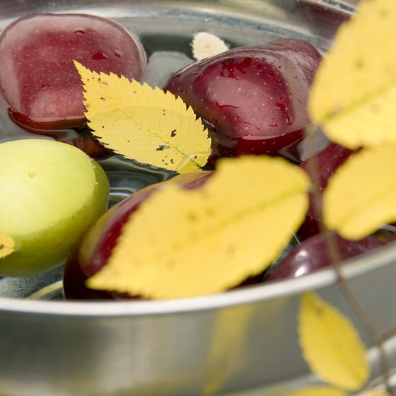 An apple-bobbing contest for children is held at Hickory Apple Festival.