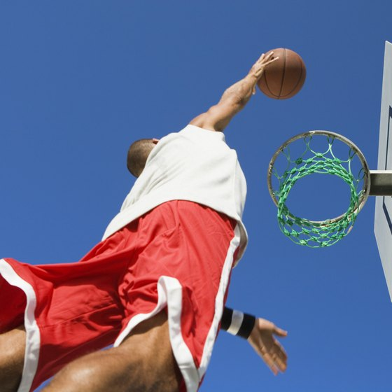Strong calves and thighs improve vertical leaping ability for basketball.