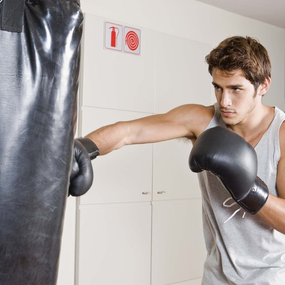 Training on a heavy bag helps build muscle mass.