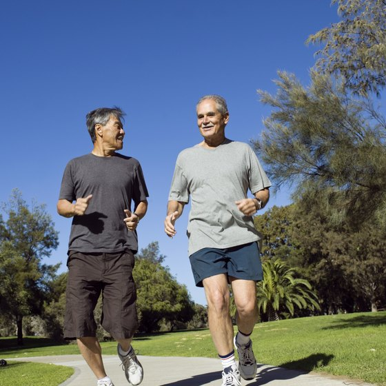 Jogging engages the muscles of the legs and hips.