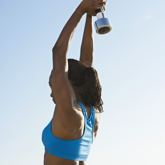 Triceps extensions tone the underarm area.