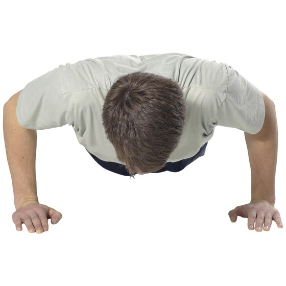 A pushup exercise strengthens the arms and chest.