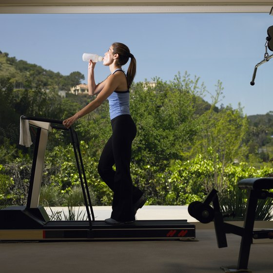 Keep your fluid levels up while working out on a treadmill.