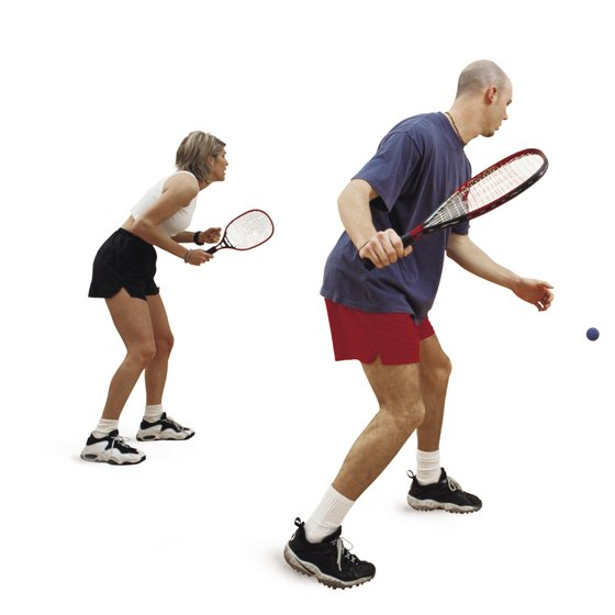 Unlike squash servers, racquetball players bounce the ball before serving.