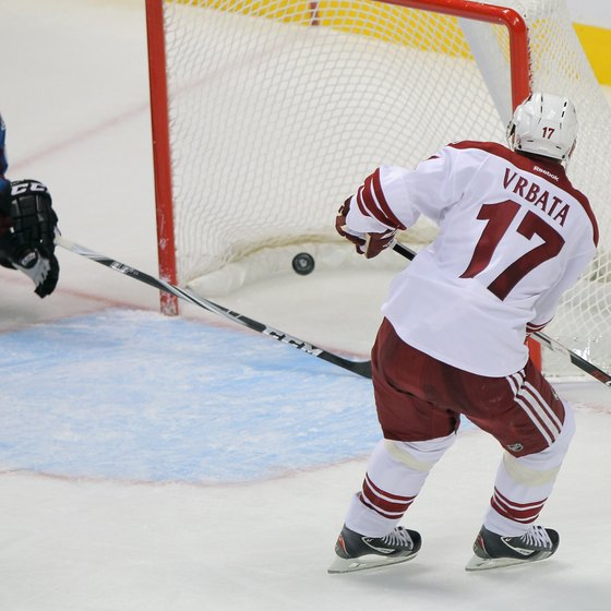 Radim Vrabata of the Phoenix Coyotes scores an empty-net goal.