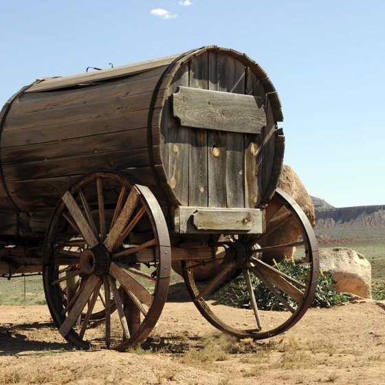 Wooden wagon in Wyoming marks location of the Oregon Trail