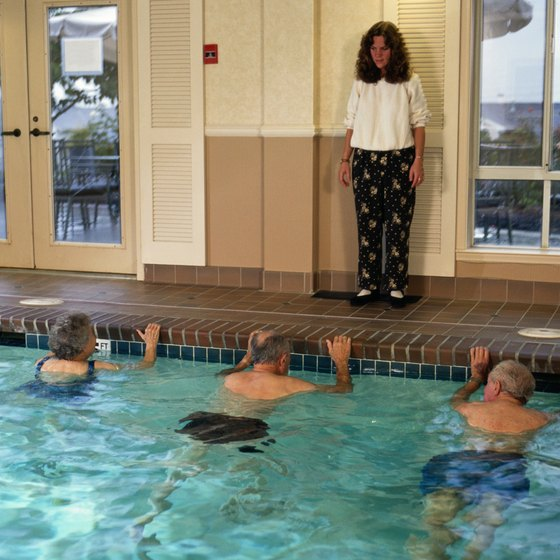 Water exercises can be performed in indoor or outdoor pools.