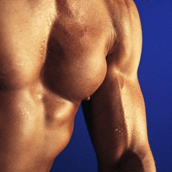 Regular strength training helps increase the size of your arms and chest.