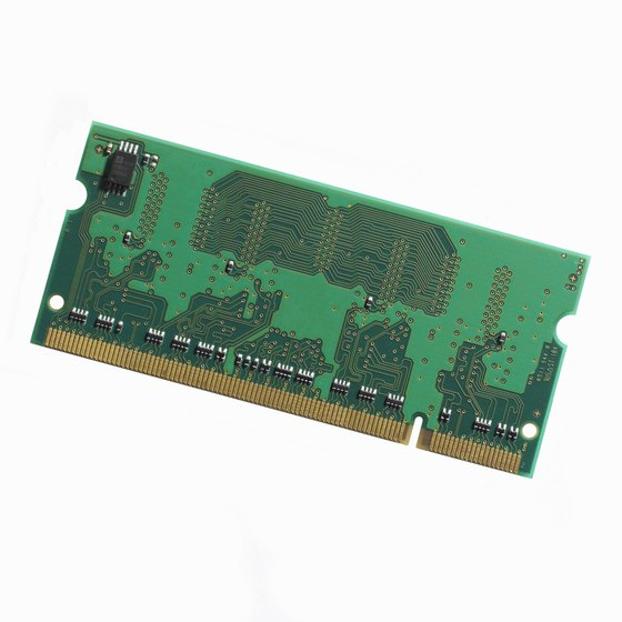 RAM chips are typically green boards with several circuits.