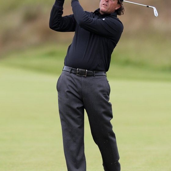 Phil Mickelson faces the target on his follow through, an indication that he's rotated his hips sufficiently.