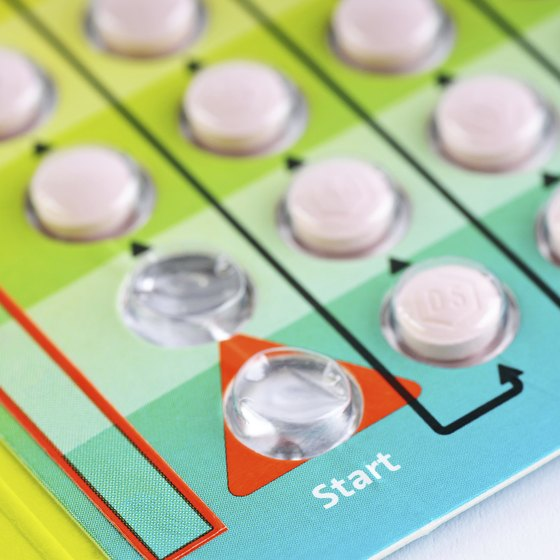 A close up of birth control pills