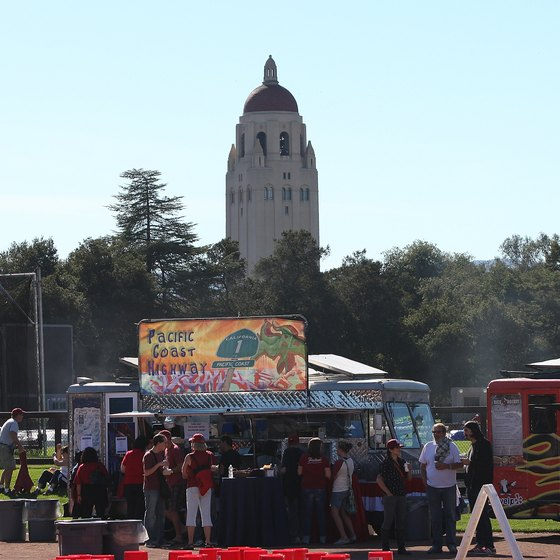 Hoover Tower overlooks Stanford Stadium.