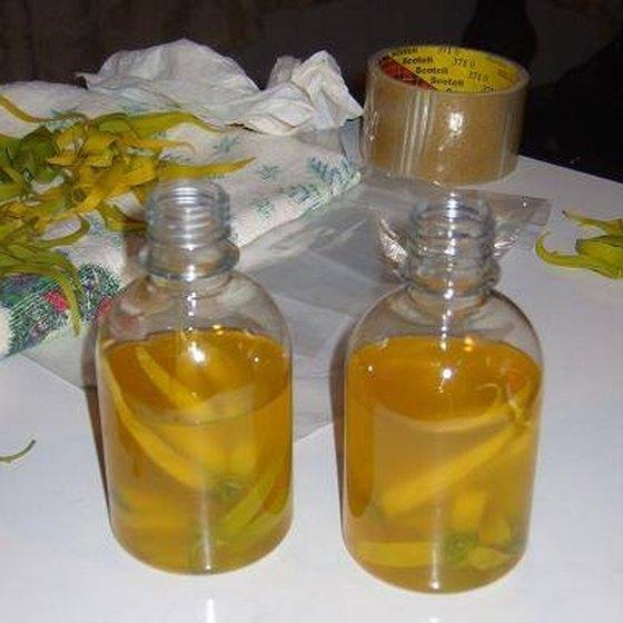 Bottles of homemade coconut oil