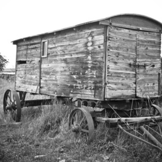 Old wooden trailers preceded the enclosed trailers of today