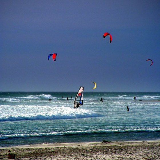 Steady trade winds make the Caribbean a popular kitesurfing destination.