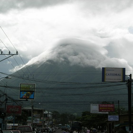 Arenal Volcano dominates the skyline above La Fortuna, Costa Rica