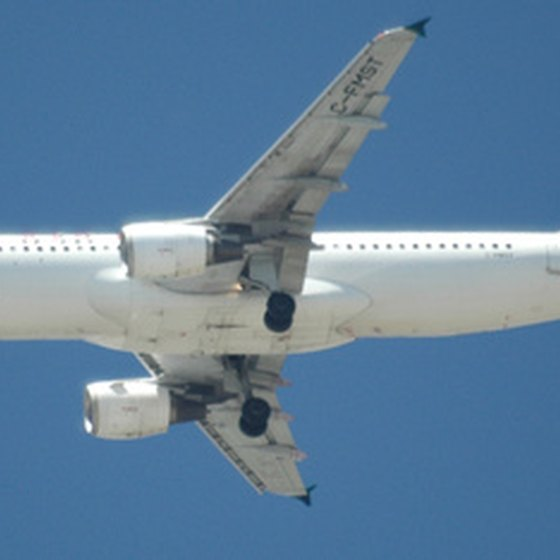 A passenger airplane in mid-flight.